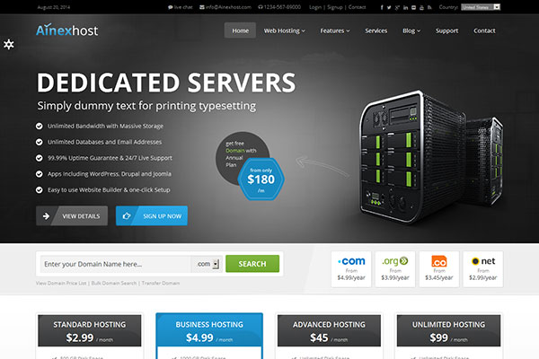 Ainex Host - Responsive Hosting Template
