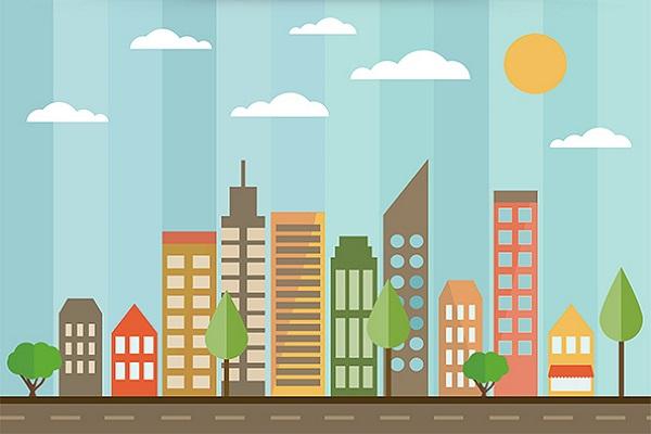 Free PSD Flat City Design Designer Resource