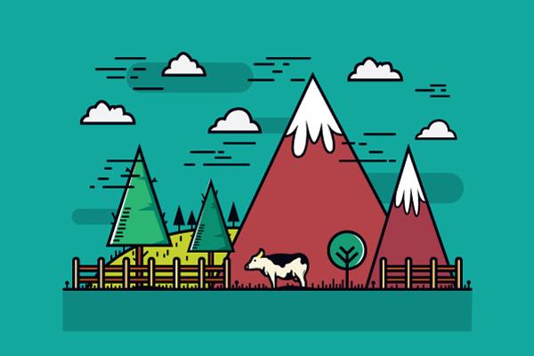 Flat Mountain Farm Vector Graphic