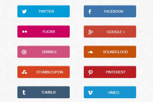 Free Social Media Buttons PSD