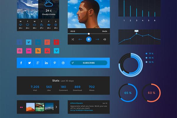 Free UI Elements PSD Kit