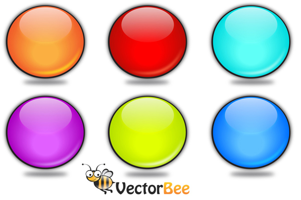 Rounded Vector Glossy Button