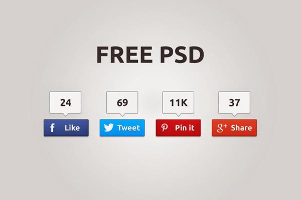 Social Share PSD Buttons