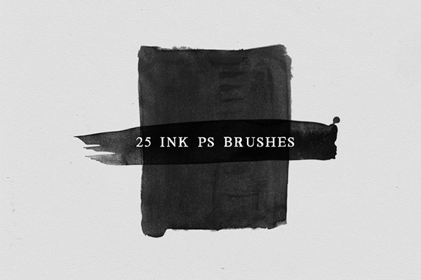 25 Watercolor and Ink Photoshop Brushes No.3