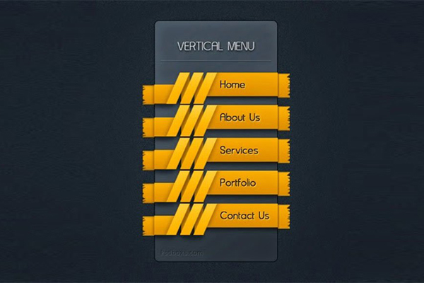 Free PSD Vertical Menu With A Ribbon