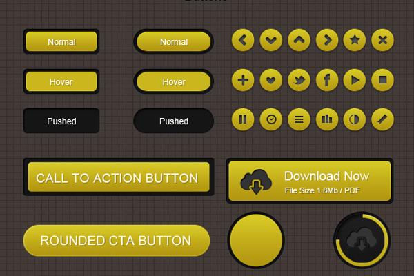 Free PSD Yellow Web UI Elements Kit