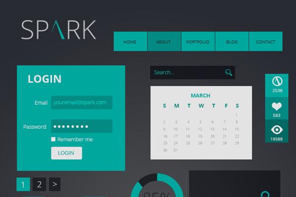 Free Spark Flat UI Kit