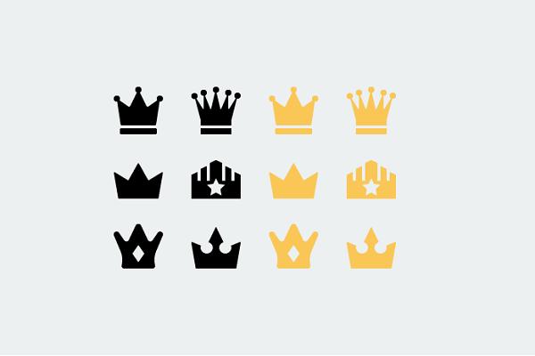 Freebie Flat Vector Crown Icons