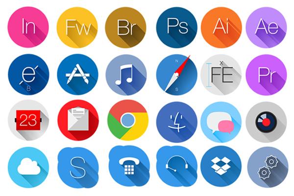 Rounded Flat Icons Set (freebie)